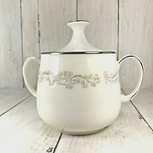 Noritake-Ivory-Fine-China-Sugar-Bowl-White-On-White-Platinum-7540-Vintage