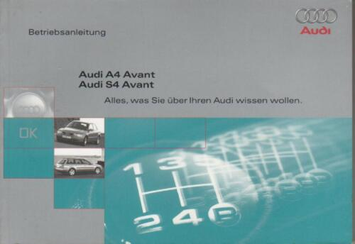 AUDI a4 s4 Avant b5 manuale di istruzioni 1997 MANUALE MANUALE BA