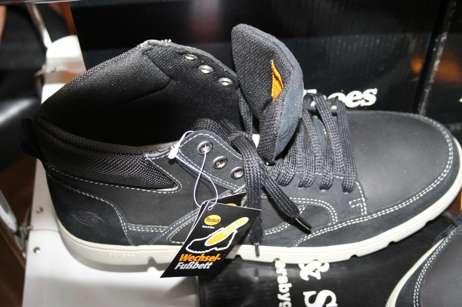 DOCKERS    Stiefel Neu  schwarz  echt  Leder   kombiniert Gr 43
