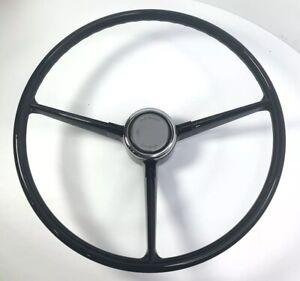 Black-3-Spoke-Steering-Wheel-For-1967-68-Chevrolet-Pickup-Truck-w-Horn-Button