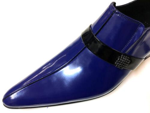 Chelsy Ausgefallener Ledersohle Slipper Herrenschuh 42 Leder Unikat Blau 5A4LRj