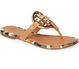 NIB-Tory-Burch-Enamel-Logo-Miller-Leather-Sandals-US-6-Aged-Vachetta-AUTHENTIC