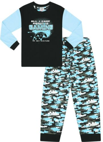 Boys All I Care About Is Gaming Blue Camouflage Pyjamas
