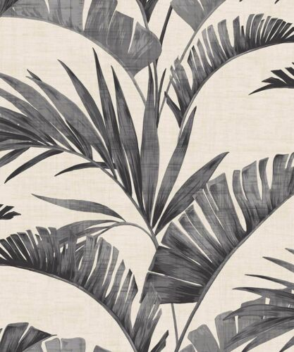Paste the Wall Leaves Arthouse Journeys Banana Palm Charcoal Wallpaper 610601
