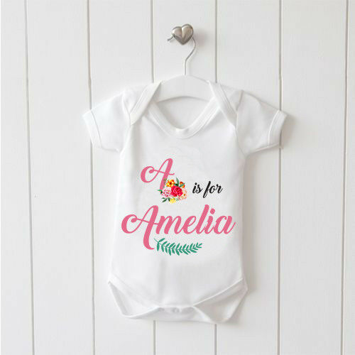 Name and Letter is for Personalised Baby Vest Baby Grow 100/% Cotton Girls Bodys