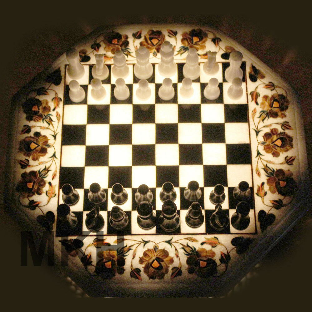 Christmas Offer Price Marble Marble Marble Inlay Chess Board Game Art Vintage Coffee Table Top fb8b8f