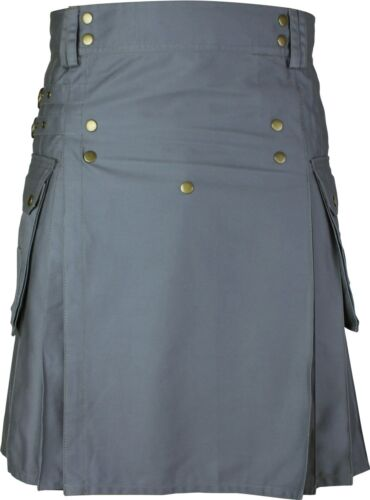 Grey Deluxe Utility Cargo Kilt With Two Cargo Pockets On Both Sides Front Studs