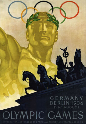 TU67 Vintage German 1936 Berlin Olympic Games Travel Tourism Poster Re-Print A4