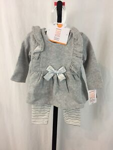 NWT-Carters-2-Piece-Outfit-Baby-Girls-3-Months-Gray-Pants-L-S-Shirt