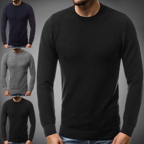 Ozonee señores jersey de punto manga larga camisa sudadera estresada sudaderas bl//m5605