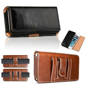 Genuine Leather Cell Phone Horizontal Carrying Pouch Case Belt Clip Holster