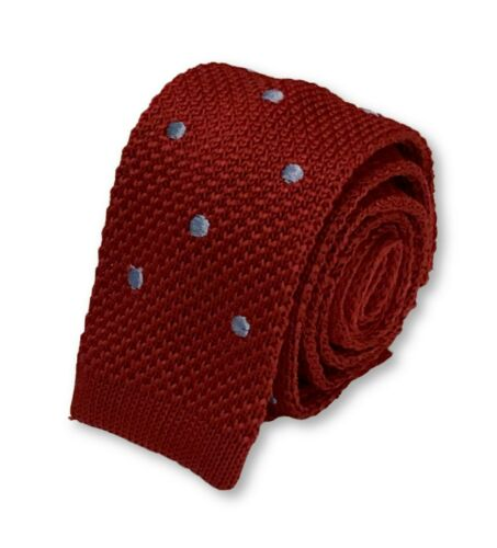 Frederick Thomas Knitted Silk Mens Tie Dark Red and Baby Blue Polka Spot