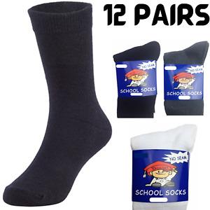 12x Pairs SCHOOL SOCKS Plain Cotton Rich Girls Boys School Uniform BULK