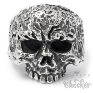 Edelstahl-Totenkopf-Ring-verrotteter-Piraten-Skull-silber-hochweriger-Bikerring