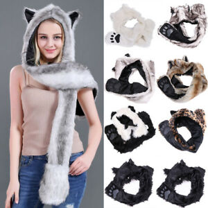 Unisex Warm Plush Animal Winter Hooded Hat Beanie With Long Scarf Mittens Gloves