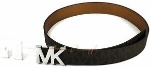 Michael-Kors-Womens-Size-L-Signature-MK-Silver-Logo-Silver-Buckle-Brown-Belt-NWT