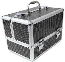 Large Black Aluminium Beauty Sequins Cosmetic Box Nail Make Up Vanity Salon Case