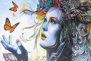 A0  POSTER PAPER  STREET ART GRAFFITI PRINT  urban PRINCESS BUTTERFLY face