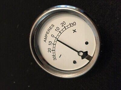 "1 3//4/"" calibre 8//0//8 AMP Medidor Amperímetro Blanco Vintage Tractor Coche ect 6V /& 12V"