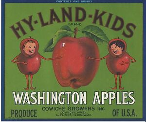 Vintage 1940/'s Fruit Crate Label Hy-Land-Kids Brand Yakima Apples Cowiche  NOS