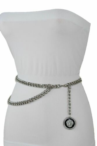 Women Hip Hop Style Fashion Dressy Belt Silver Metal Chain Lion Buckle M L XL