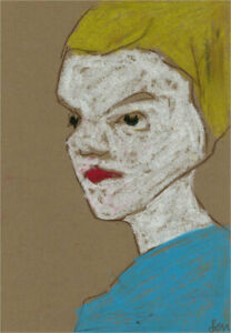 Ben Carrivick - Contemporary Pastel, Red Lips and Blue Shirt