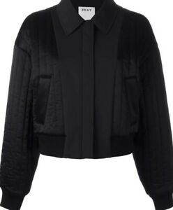 DONNA-KARAN-DKNY-QUILTED-CROPPED-BOMBER-BLACK-JACKET-Size-S