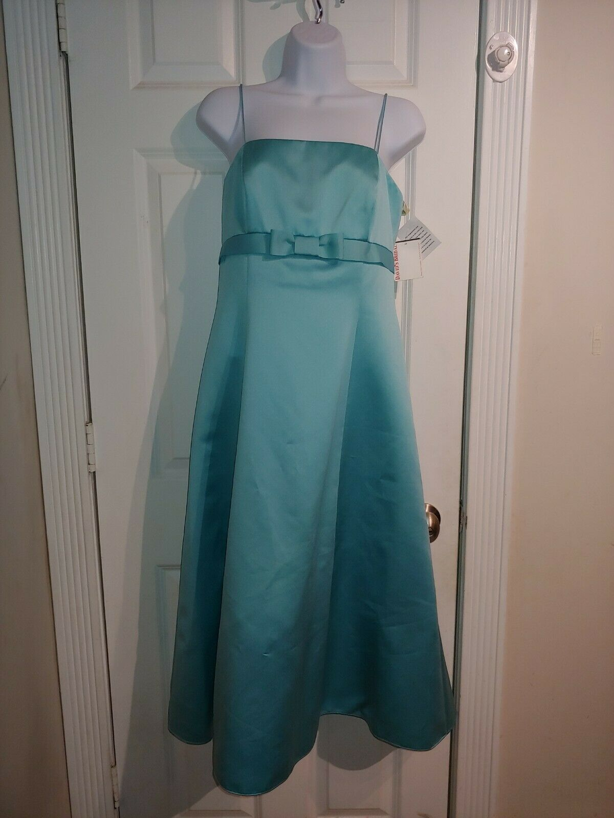 David's Bridal Turquoise With Bow Formal Dress Sz 8 Gorgeous! NWT