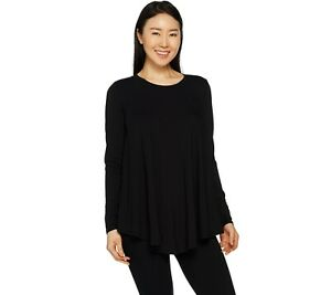 AnyBody-Loungewear-Women-039-s-Cozy-Knit-Swing-Top-Solid-Black-Medium-Size-QVC