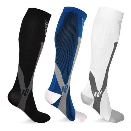 3 Pairs Compression Socks Black Blue White Men Women Sport Socks 20-30 mmhg