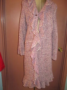New-NWT-Calypso-purple-white-tweed-long-coat-w-ruffle-front-sz-L