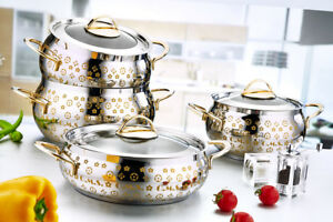 O M S 8 Piece Commercial Professional Cookware Stock Pot
