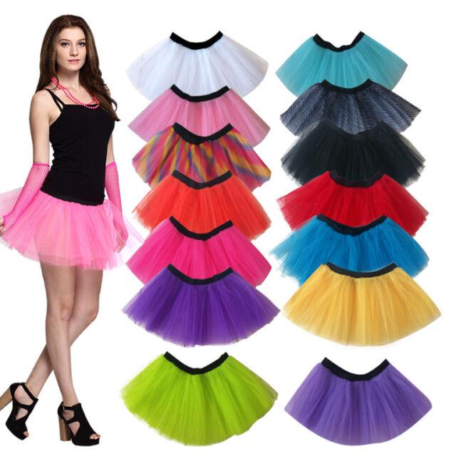 Women Neon UV Flo Tutu Skirt Hen Fancy Dress Party 3 Layers of Net Plus Colours