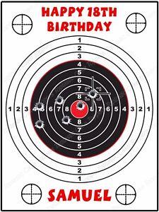 Awe Inspiring Personalised Target Shooting Range Edible Icing Birthday Party Personalised Birthday Cards Beptaeletsinfo