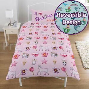 Officiel-Emoji-Licorne-et-Sirene-Set-Housse-de-Couette-Simple-Enfants-Reversible