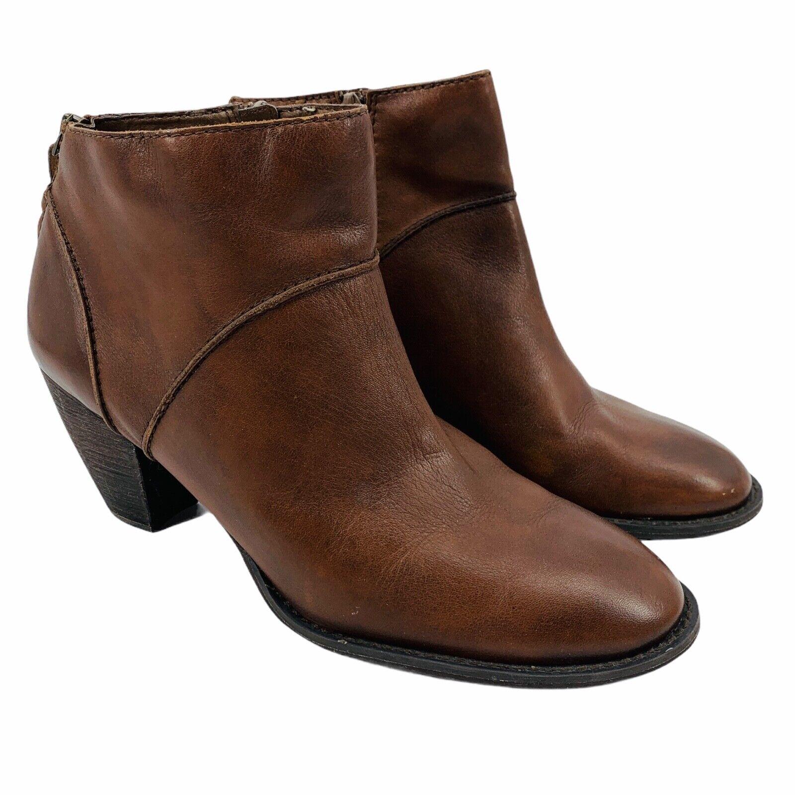 Tesori Women's 12 Dark Brown Leather Side Zip Ankle Bootie Heel