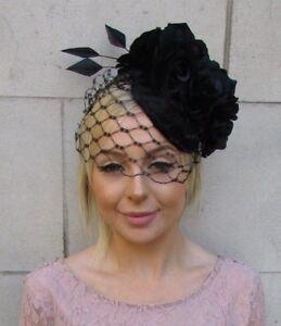 Image is loading Black-Rose-Feather-Birdcage-Veil-Flower-Fascinator-Pillbox- b7215191925