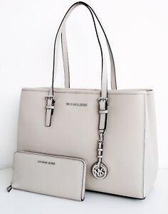 michael kors tasche bag jet set travel lg tote ew cement grau neu ebay. Black Bedroom Furniture Sets. Home Design Ideas