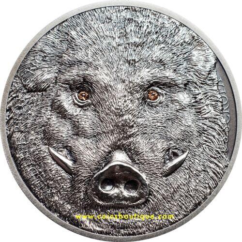 WILD BOAR 1oz High Relief silver coin antique finish 2018 Mongolia