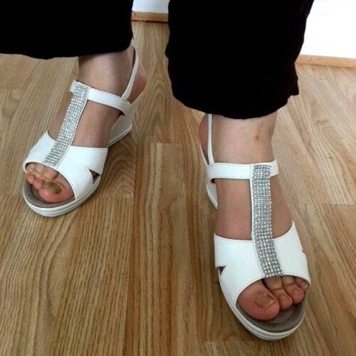 Fasten Platform Mule Size Diamante Gladiator Wedge Shoe Sandal Women Touch White XwU8qP8I