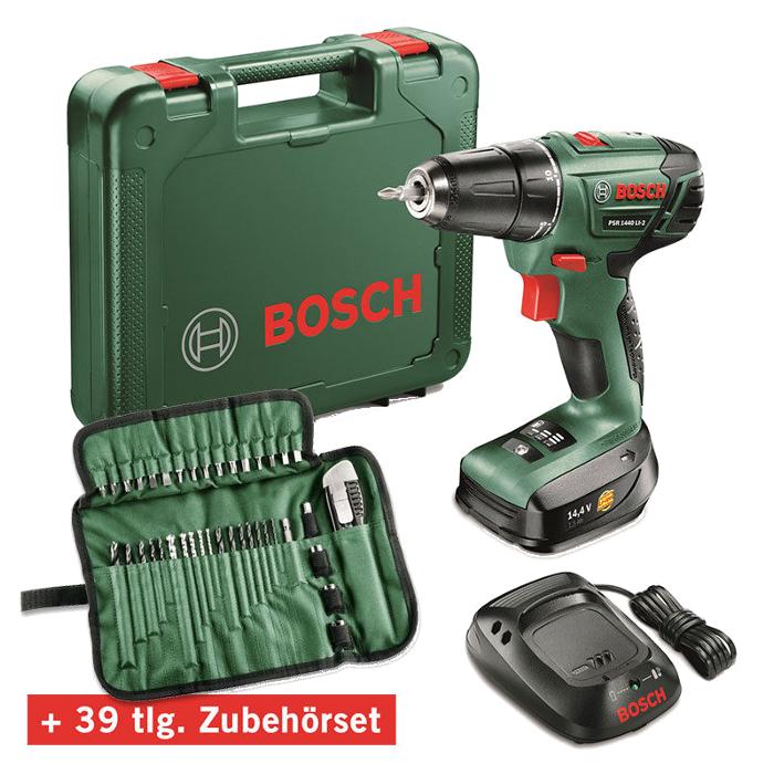 Bosch PSR 1440 LI-2 Akku-Schrauber 06039A3003 - inkl. 39 Zubehör, 1x Li-Akku