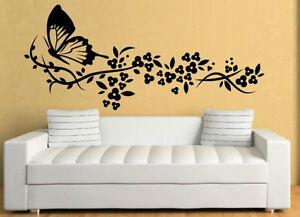 Grande Farfalla Vite Fiore Adesivi Da Parete Da Muro Decalcomania