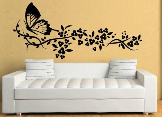 IMPRESIONANTE Mariposa Diseño Floral Decorativa Pegatina Pared Grande Decoración