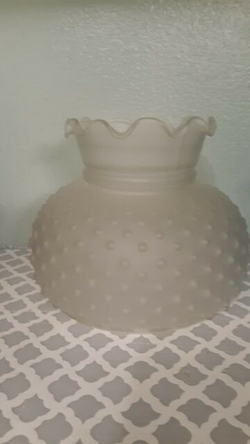 Vintage Hobnail Frosted Clear Glass Lamp Shade Hurricane