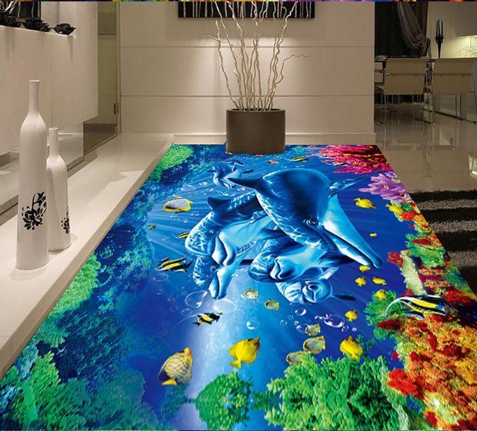 3D Aquatic Plants Fish Floor WallPaper Murals Wall Print Decal 5D AJ WALLPAPER