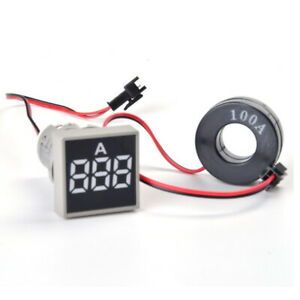 Panel-mount-Square-shape-100A-AC-Digital-Ammeter-Amp-Meter-White-LED-display