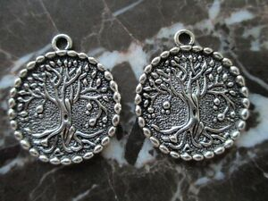 Lot-of-2-Silver-Celtic-Wicca-Tree-of-Life-Coin-Type-Medallion-Pendants-Jewish