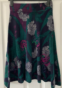 White Stuff Ultraviolet Knitted Navy Floral Skirt Cotton, Wool, Cashmere Blend 8