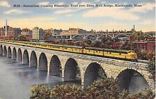 MN postcard Minneapolis Streamliner train crossing Miss. River Stone Arch Bridge