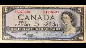 1954-Bank-Of-Canada-5-Bouey-Rasminsky-U-X4978538-F-VF